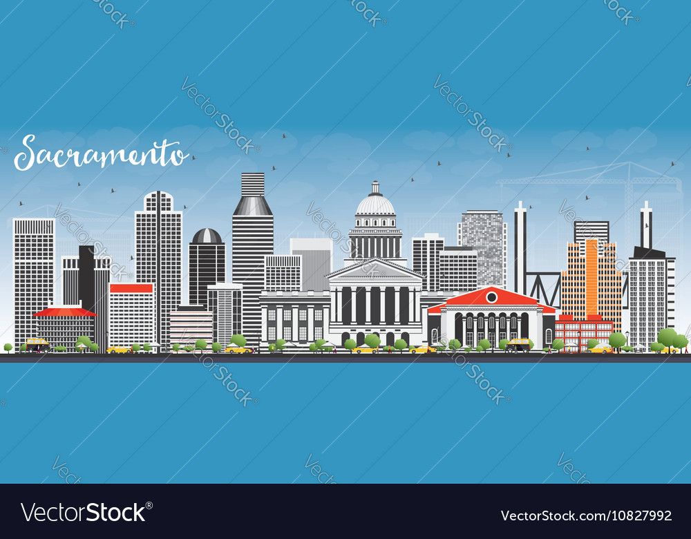 Sacramento skyline with gray buildings vector