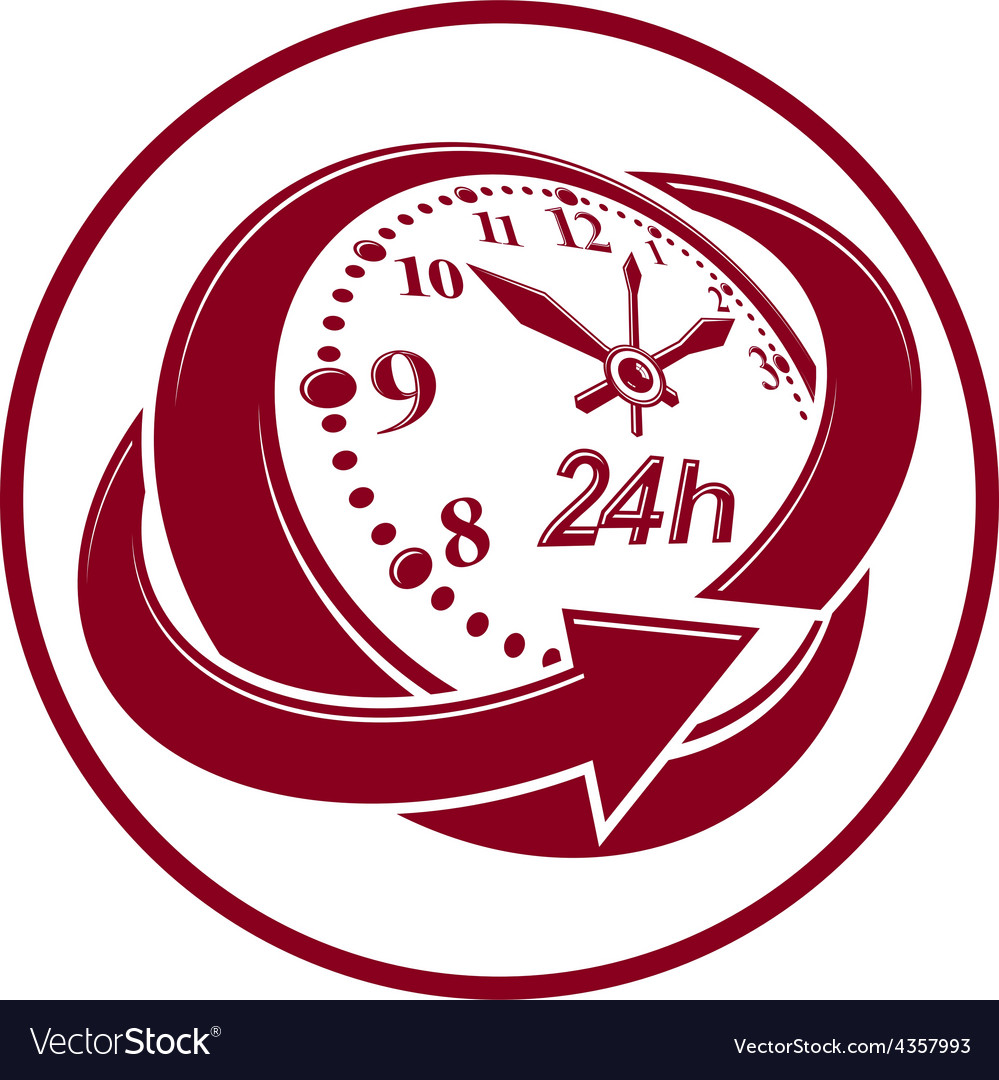 24 hoursaday concept clock face with a dial and vector