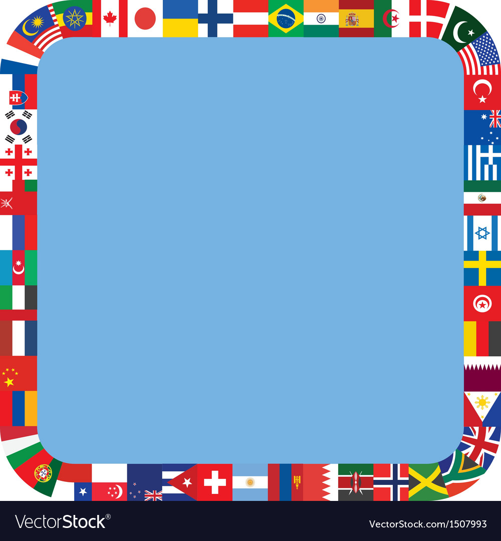 Frame made of flag icons vector