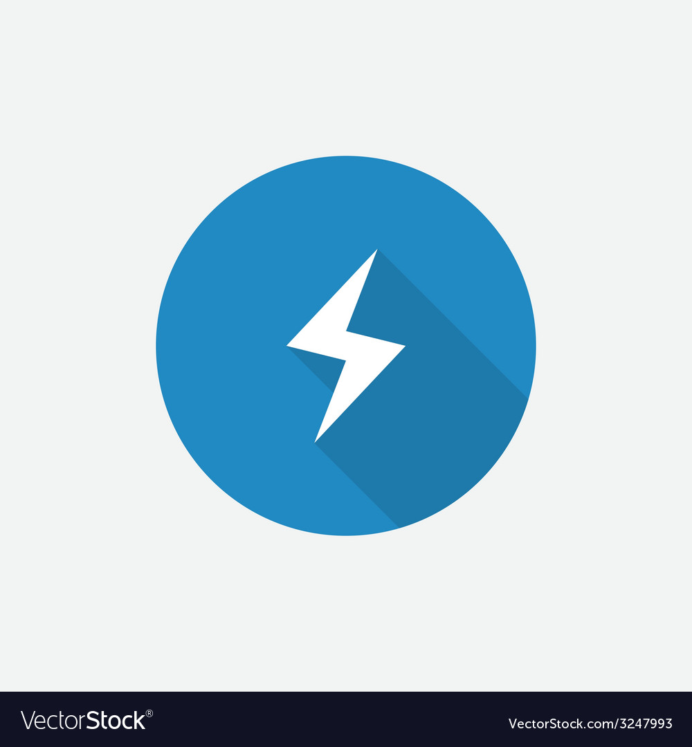 Lightning flat blue simple icon with long shadow vector