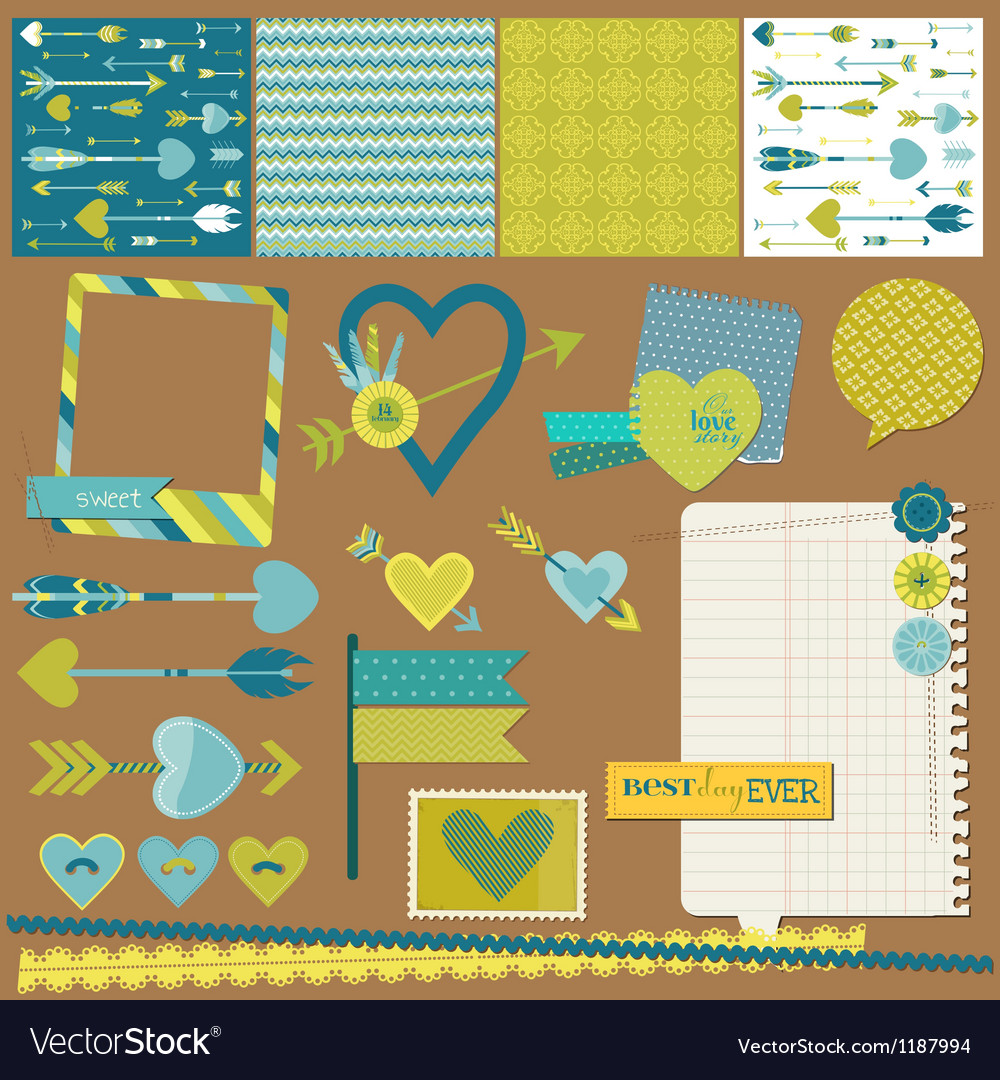 Scrapbook design elements  love heart and arrows vector