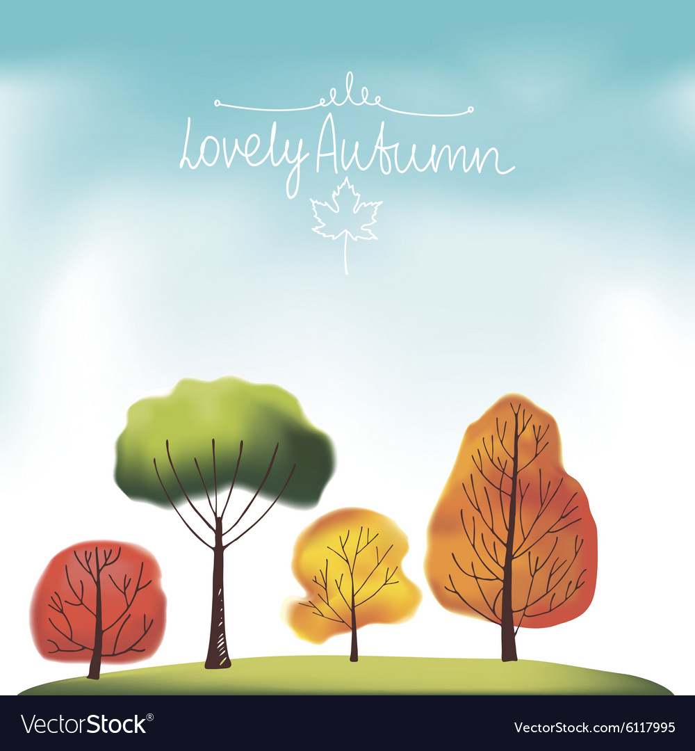 Group of autumn trees vector