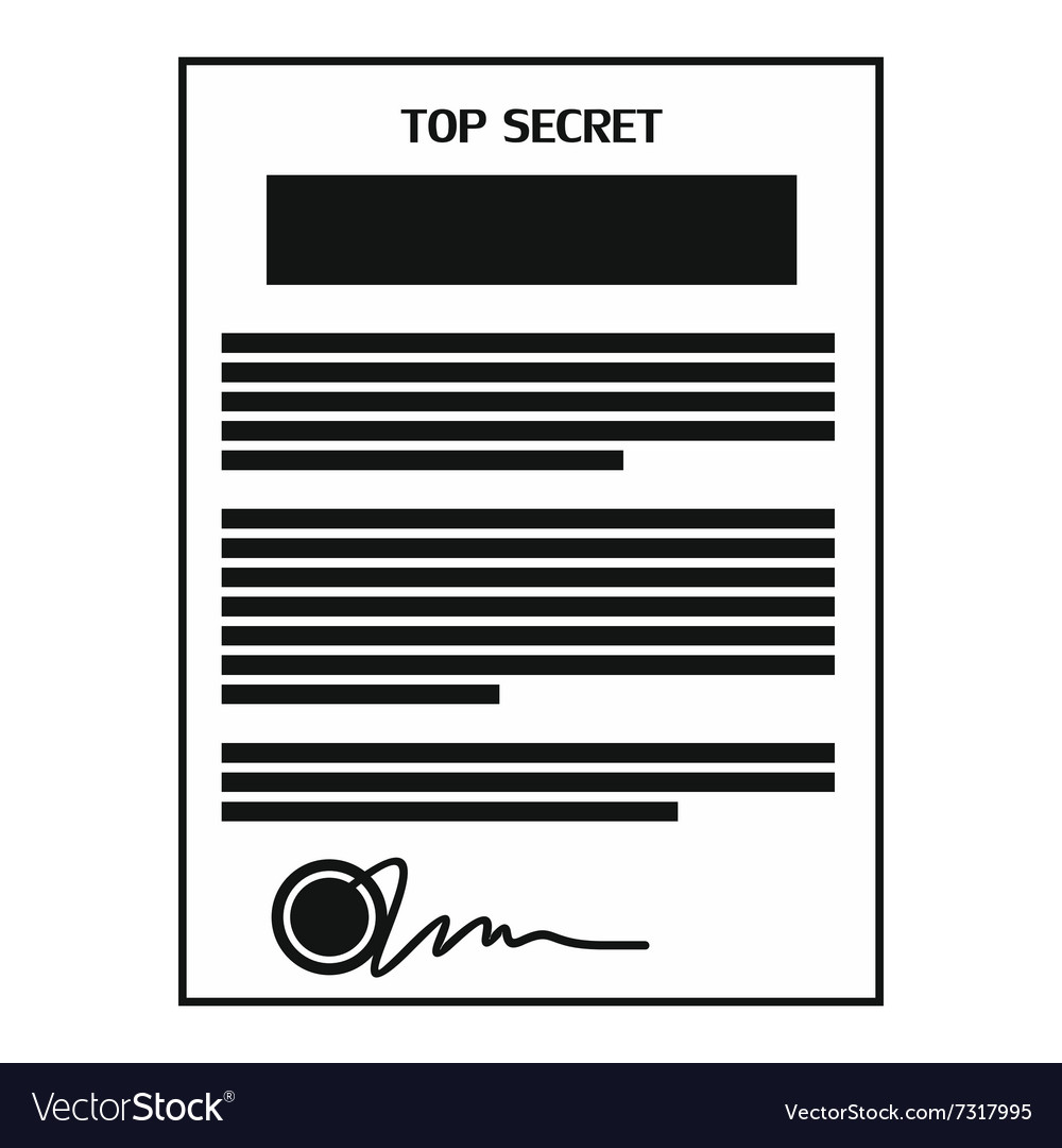 Top secret document black simple icon vector