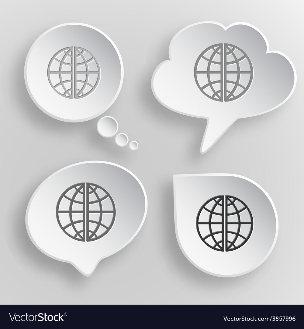 Globe white flat buttons on gray background vector