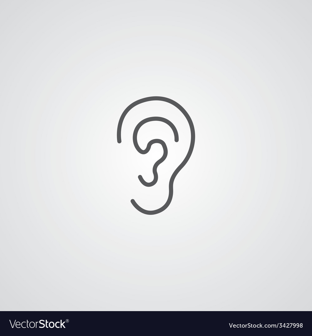 Ear outline symbol dark on white background logo vector