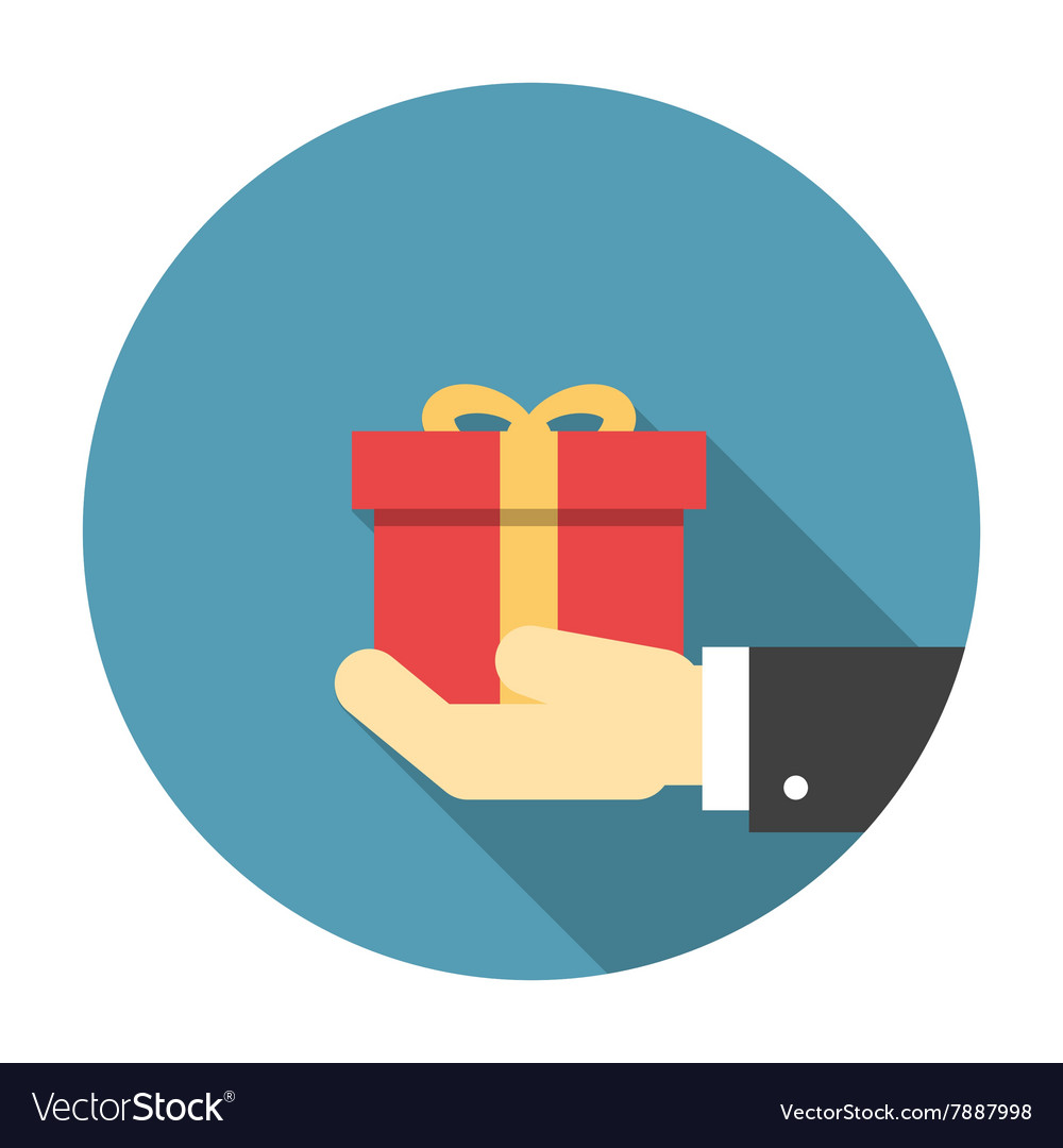 Gift box in hand flat icon vector