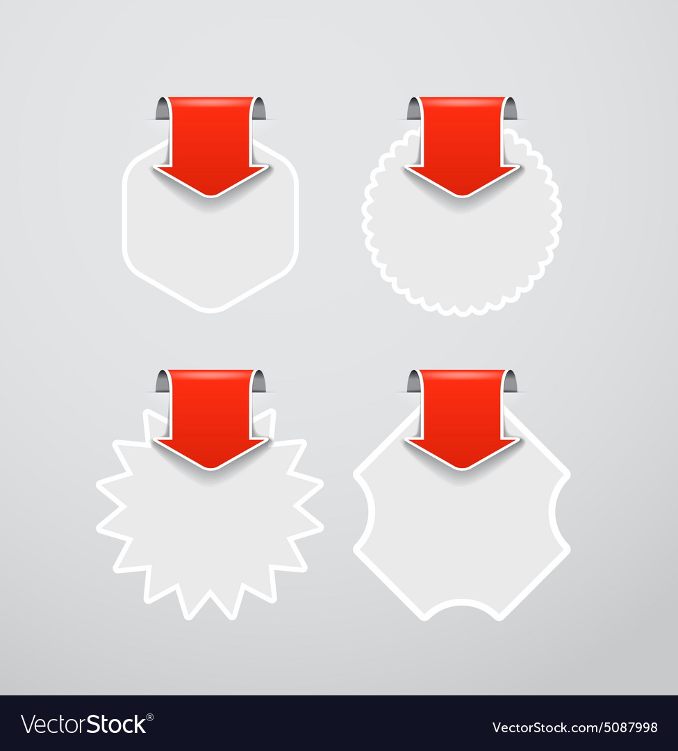 Shopping labels templates with red arrows vector