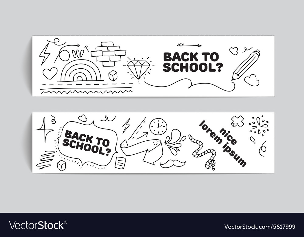 Back to school banner design hand drawn doodles vector