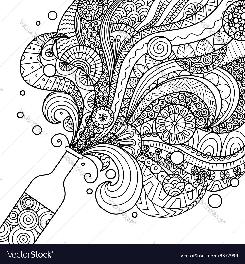 Champagne bottle coloring vector