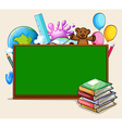 Blackboard and school objects vector image