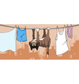 cartoon cat drying on the clothesline vector image