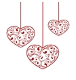 ornamental red hearts vector image