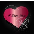 Ruby and glass hearts with silwer flower vector image
