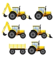 Set of vehicles and tractors vector image vector image