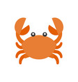 cute crab cartoon icon flat design vector image
