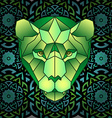 Mandala and polygonal head of polygonal tiger vector image