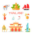 set of icons with thailand national symbols vector image