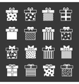 Gift boxes icons set in black and white vector image