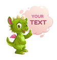 Funny cartoon little green dragon vector image