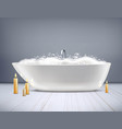 bathtub with foam 3d vector image