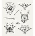 Set of hunt emblems badges labels and designed vector image