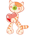 cute kitten with heart vector image