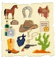 Elements of Wild West Cactus Revolver Hat vector image