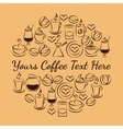 Coffee time emblem of coffee icons vector image