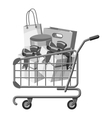 Sale shopping cart with boxes icon vector image
