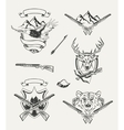 Set of hunt emblems badges labels and designed vector image