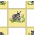 Watercolor rabbits with flowers seamless pattern vector image