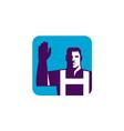 Worker Right Arm Raise to Vote Square Retro vector image vector image
