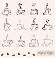 coffee cups set vector image vector image