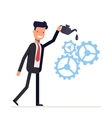 Man in suit lubricates the gear mechanism oil The vector image