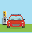 electric cars charging at the charger station vector image