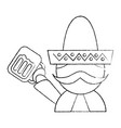 funny mexican man with hat and mustache with beer vector image