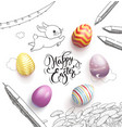 happy easter lettering handwritten with vector image
