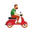 hipster young bearded man character with retro red vector image