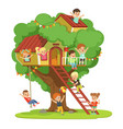 kids having fun in the treehouse childrens vector image