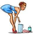 Pin Up shopping girl vector image