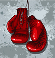 retro boxing gloves in red vector image