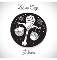 Libra zodiac sign of horoscope circle emblem in vector image