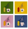 flat icons collection cup of coffee and bun vector image