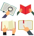 Reading book flat icon set vector image