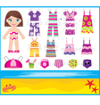 Paper doll with summer set of clothes vector image
