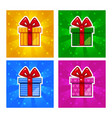 cartoon multi-colored gift box icons vector image