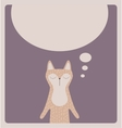 Cute thinking cat card design vector image