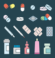 Set flat medical pills vector image