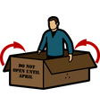 Man in box vector image vector image