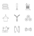 Sewing supplies icons set outline style vector image